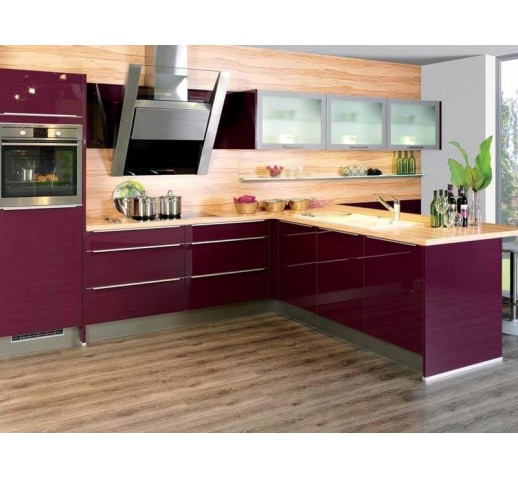 Кухня из акрила цвет бордо