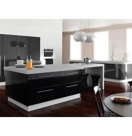 Кухня из акрила металлик черный