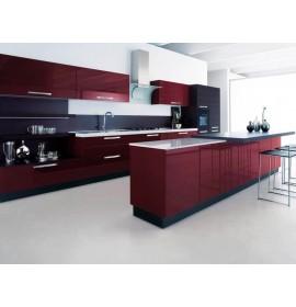 Кухня из акрила цвет винный