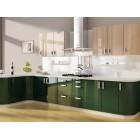 Кухня из акрила цвет темно зеленый
