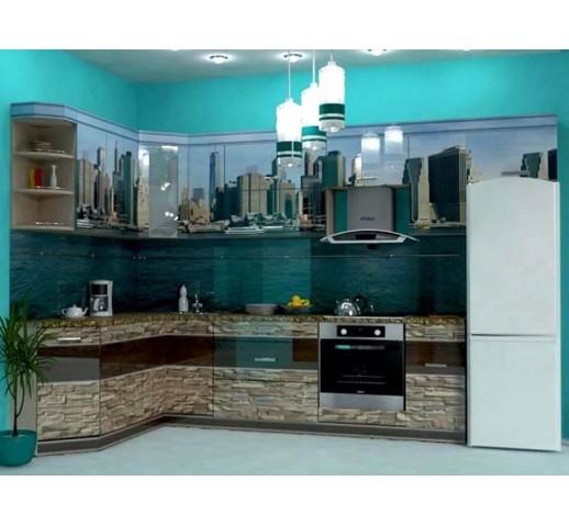 Кухня из панелей Альбико Бирюза
