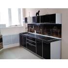 Кухня из панелей Альбико Черный Глянец
