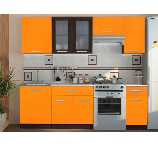 Кухни из ЛДСП оранжевая