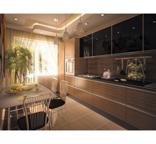 Кухня из МДФ коричневые полосы