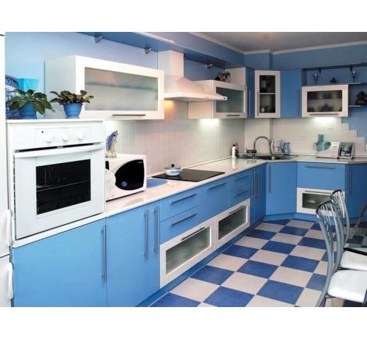 Кухня из МДФ голубая