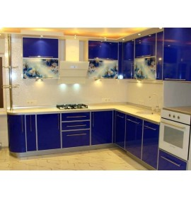 Кухня пластик синяя глянец