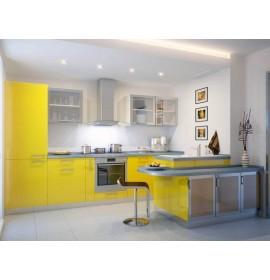 Кухня пластик желтая глянец