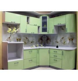 Кухня пластик зеленая глянец