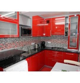 Кухня пластик красная глянец